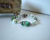 Spring flowers bead bracelet- elastic cord