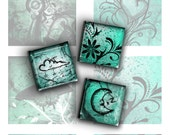 Mixed 1 Inch Square Images in Teal