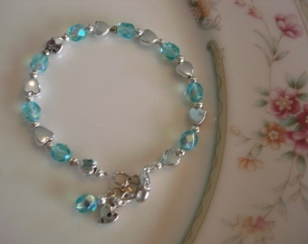 Birthstone Girls Bracelet with Silver-Toned Hearts, Gift Boxed