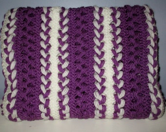 Purple and White Hairpin Lace Blanket