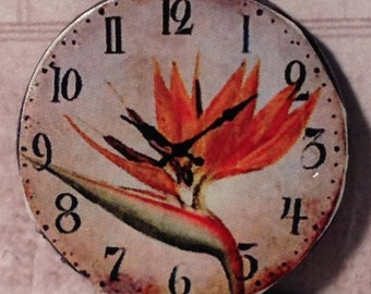 "Dollhouse Miniature ""Exotic Paradise"" Wall Clock, Scale Half Inch"