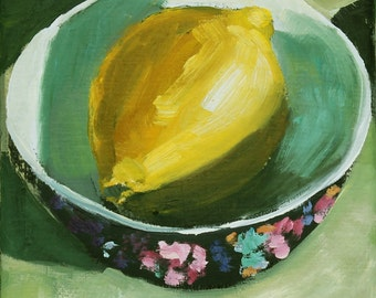 Lemon Still Life Painting Original Oil on Canvas  6x6 inch wall decor