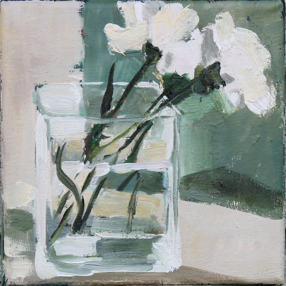 White Flowers In Glass Vase Original Oil Painting Floral