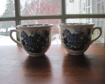 "Pair Mason's ""Fruit Basket"" Ironstone Cups and Saucers in Blue Multicolor"
