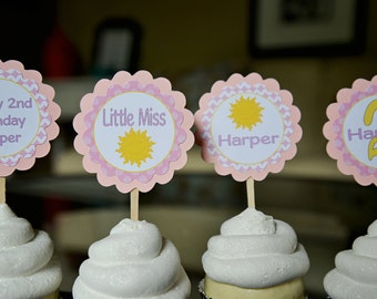 You are my sunshine-Little Miss Sunshine-Sunshine theme cupcake toppers-pink and white-set of 12