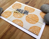 SALE Hand Printed Seaside Orange Sea Urchin Notecard - Lino/Block Print