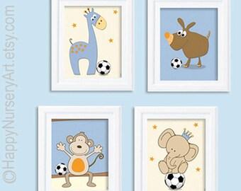 art for nursery, Baby art posters, Soccer nursery, baby boy art, giraffe, elephant, monkey, light blue orange, kids art, art for boys room