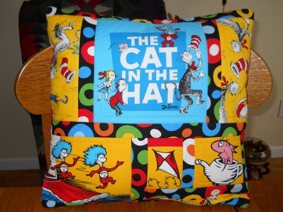 Quilted Dr. Seuss Pillow  - Cat in the Hat