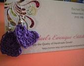 Deep Purple Crochet Heart Earrings