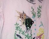 beaded denim shirt, Pink, Underwater and Fish Motif, vintage 1970s