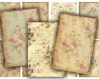 Digital Images - Digital Collage Sheet Download - Vintage Floral Tags -  480  - Digital Paper - Instant Download Printables
