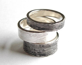 Waves Stacking Ring, Recycled Sterling Silver Ring, Textured rings