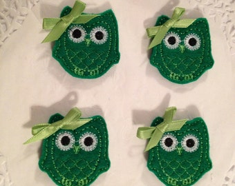 Adorable Dark Green Felt Owl Applique with Light Green Thread Trimming Applique- Set of 4