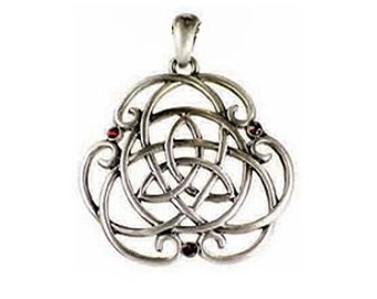 Jeweled Celtic Triquetra Pendant - Pewter