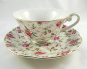 Lefton Rose Chintz China Cup Saucer Pink Roses Green Leaves Teacup Serving