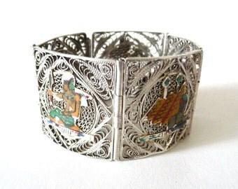 Egyptian Revival Link Bracelet Enamel Sterling Silver Cannetille Panels Vintage Jewelry from TreasuresOfGrace
