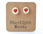 red heart studs post earrings wood earrings valentines day eco fashion eco friendly unique gift for her