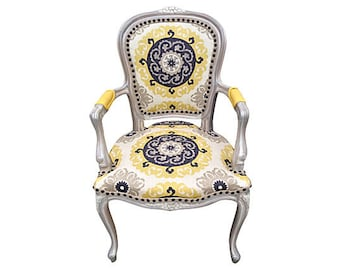 Grey and Yellow Upholstered French Arm Chair Painted Exotic Modern Shabby Chic
