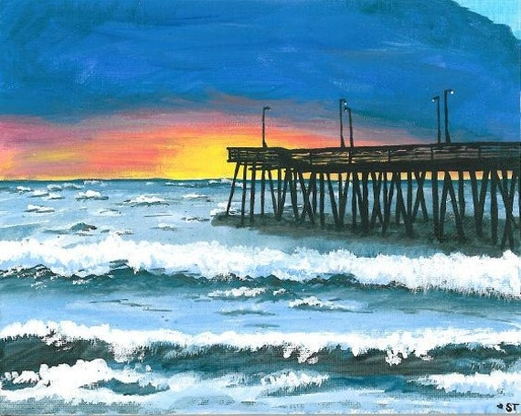 beach pier print of painting virginia beach