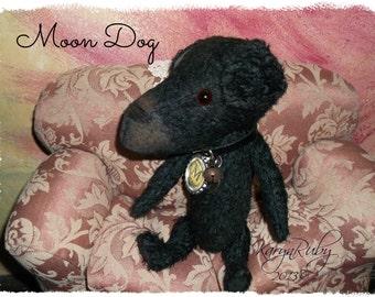 PDF EPattern  to make 9 inch 'Moon Dog'   Vintage Style Viscose or Mohair Dog by Artist KarynRuby