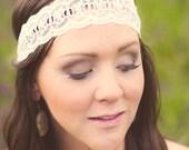 White Sheer Lace Headband, Stretchy Headband, Wide Headband