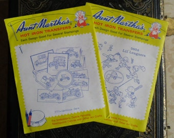 Vintage Transfer Patterns - Aunt Marthas 3772 Antique Cars and 3804 Lil Leaguers Colonial Patterns, Inc.