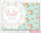 Shabby Chic Invitation. Vintage Pearls & Lace Invitation. DIY Printable Birthday, Baby Shower or Bridal Shower Invitation.