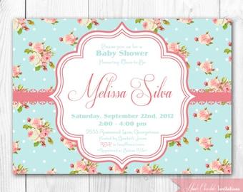 Shabby Chic Baby Shower Invitation. DIY Printable Baby Shower, Bridal Shower or Birthday Party Invitation.