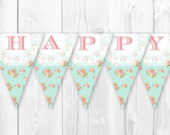 Shabby Chic Birthday Banner - Vintage Pearls and Lace Inspired Decorations. DIY Printable Pennant Banner