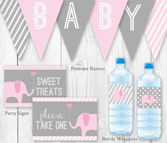Gianna S Pink And Gray Elephant Nursery Reveal: Elephant Baby Shower Package Pink & Gray. DIY Printable Baby