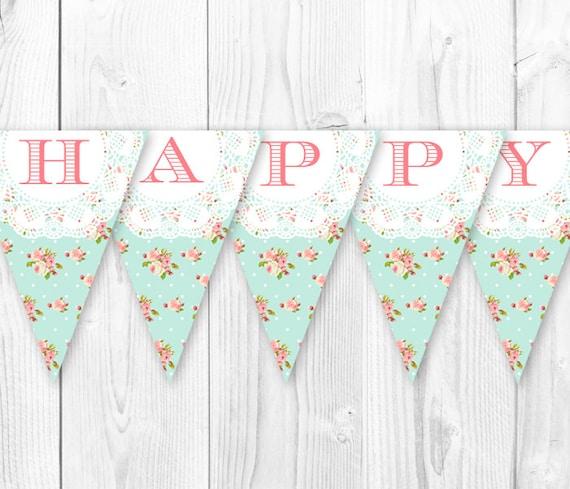 Printable Vintage Birthday Banner ~ Shabby chic birthday banner vintage pearls and lace