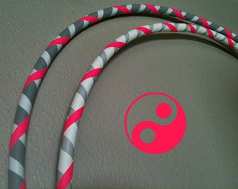 Yin Yang Twins TWO Fitness Hula Hoops PINK  silver white dance exercise