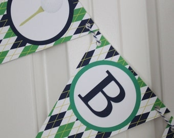 PREPPY ARGYLE GOLF Happy Birthday or Baby Shower Party Banner - Party Packs Available