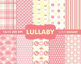 70% OFF SALE Digital Paper Baby Shower Lullaby Pink Background Patterns