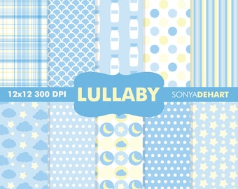 80% OFF Sale Digital Paper Baby Shower Lullaby Blue Background Patterns