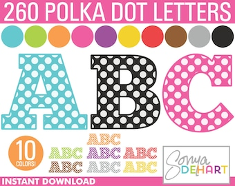 80% OFF SALE Alphabet Clipart Polka Dots Bundle 260 Letters   Clip Art