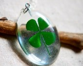 st patricks day pressed clover necklace. shamrock. real four leaf clover. dried flower. emerald green