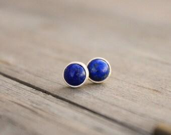 Lapis Lazuli Sterling Silver Post Earrings Blue Cobalt Stud Minimal Earrings
