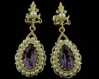 Victorian Style Amethyst and Pearls Earrings Solid 14k Yellow Gold