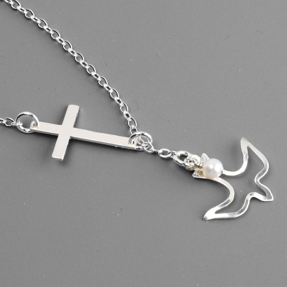 sterling silver cross necklace mom jewelry sideways cross. Black Bedroom Furniture Sets. Home Design Ideas