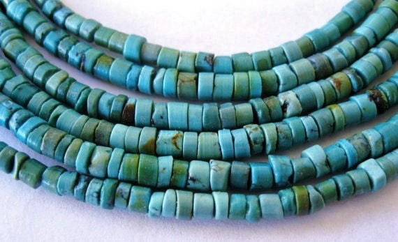 "Natural Turquoise Bead Blue Green Heishi beads 4mm 7.5"" Strand"