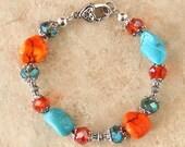 Chunky Cowgirl Bracelet - Turquoise and Orange