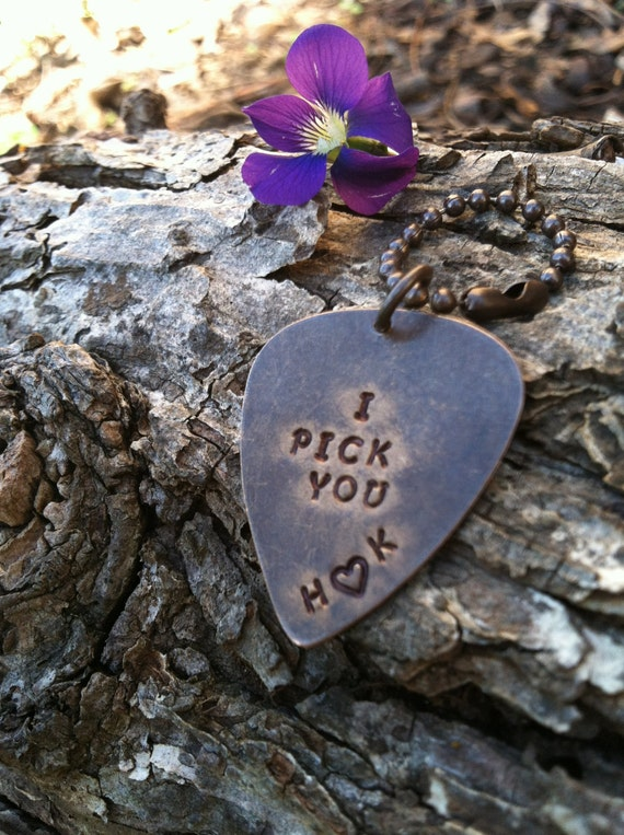 I pick you guitar pick Keychain personalized guitar pick custom guitar pick