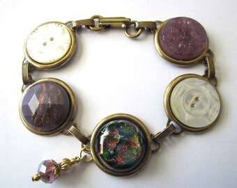 Antique button bracelet, carved mother of pearl buttons, lavender purple glass buttons, dichroic glass pieces