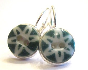 Antique button earrings, green 1800s china stencil buttons, silver leverbacks