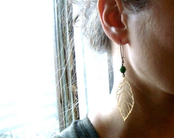 Brass Leaf Earrings with Turquoise Czech Beads and brass ear wire