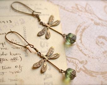Brass Dragonfly Earrings with Peridot Green Czech Glass Bead