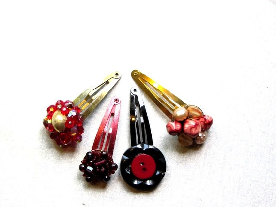 Red Burgundy Gold Hair Clip, Holiday Hair Clips, Black and Red Hair Clip, Stocking Stuffer, Hair Clip Set, Set of 4, Upcycled, Hair Jewelry