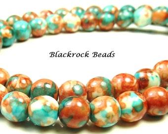 6mm Rain Flower Stone Ocean Jade Round Gemstone Beads - 15.5 Inch Strand - Salmon, Red Orange, Sky Blue - BB6