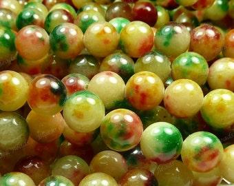 10mm Red, Green, and Pale Lemon Jade Round Gemstone Beads - 19pcs - Rainbow Jade - BG2
